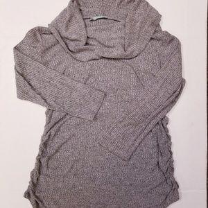 Maureces Grey cowel neck side scrunch knit sweater